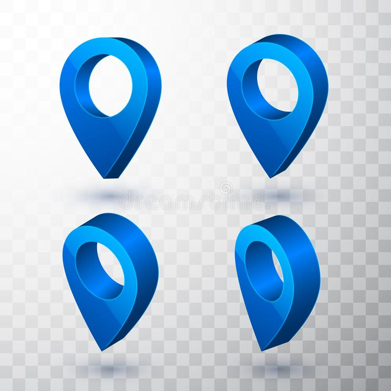 3d map pointer. Blue navigator symbol isolated on transparent background. Vector illustration royalty free illustration