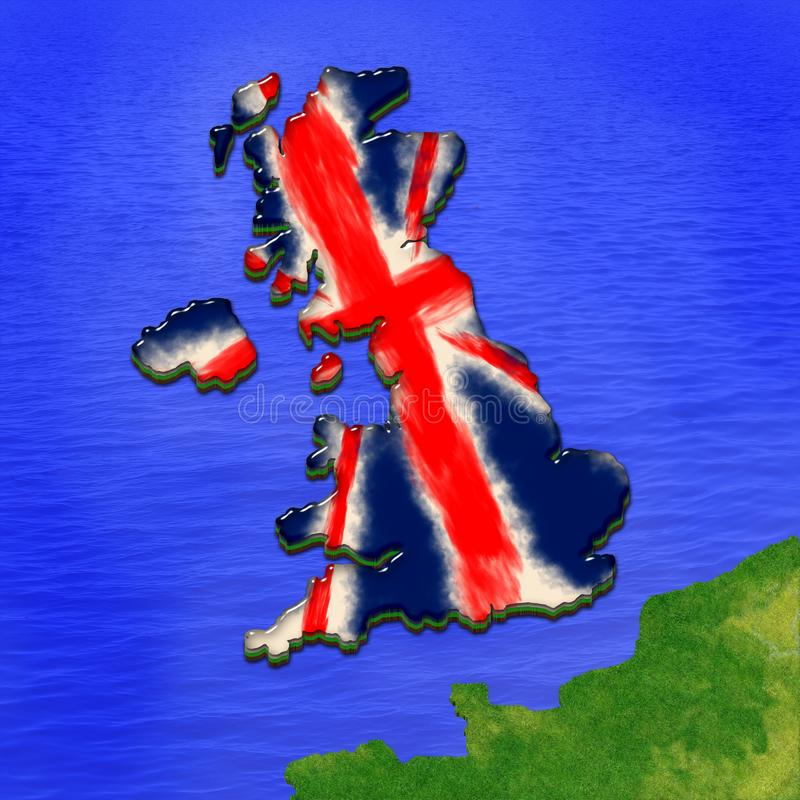 3D map of United Kingdom painted in the colors of UK flag. Illustration of stylized jelly p vector illustration