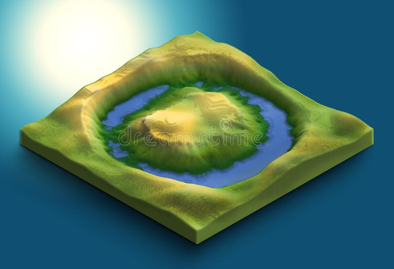 3d map of volcanic island with water from the sea or lake royalty free stock photo