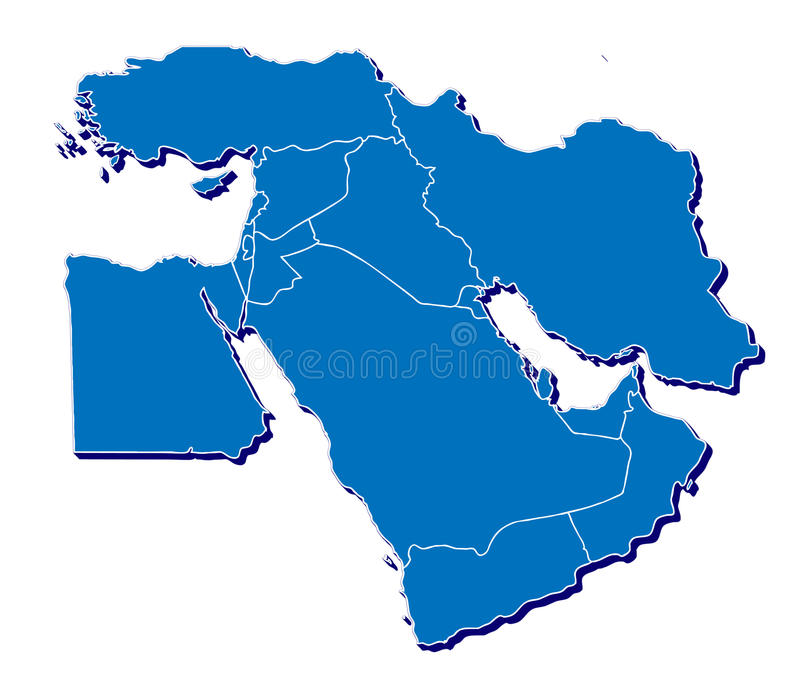 Środkowy Wschód mapa w 3D royalty ilustracja