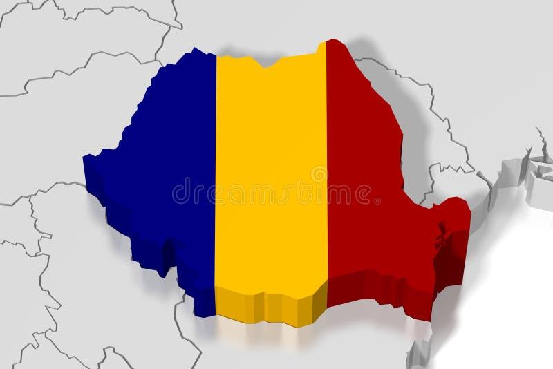 3D mapa, bandeira - Romênia ilustração do vetor