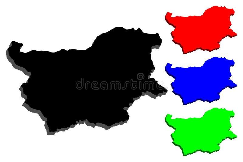 3D mapa Bułgaria ilustracja wektor