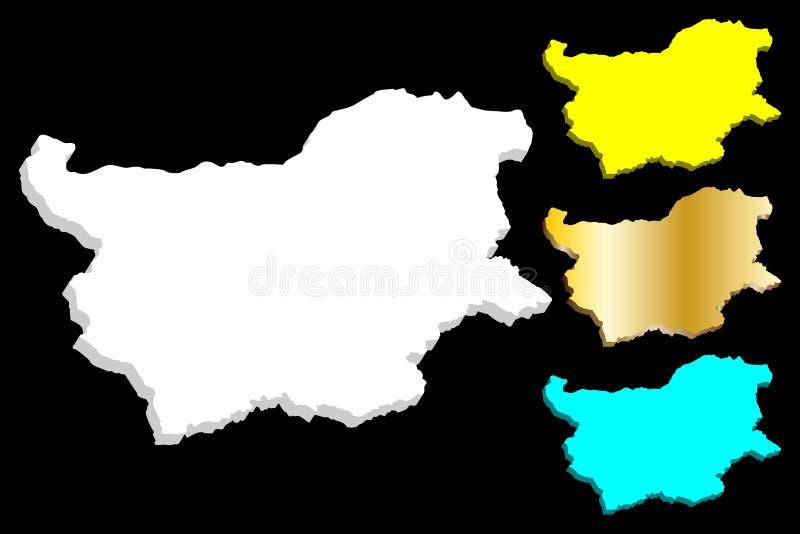 3D mapa Bułgaria royalty ilustracja