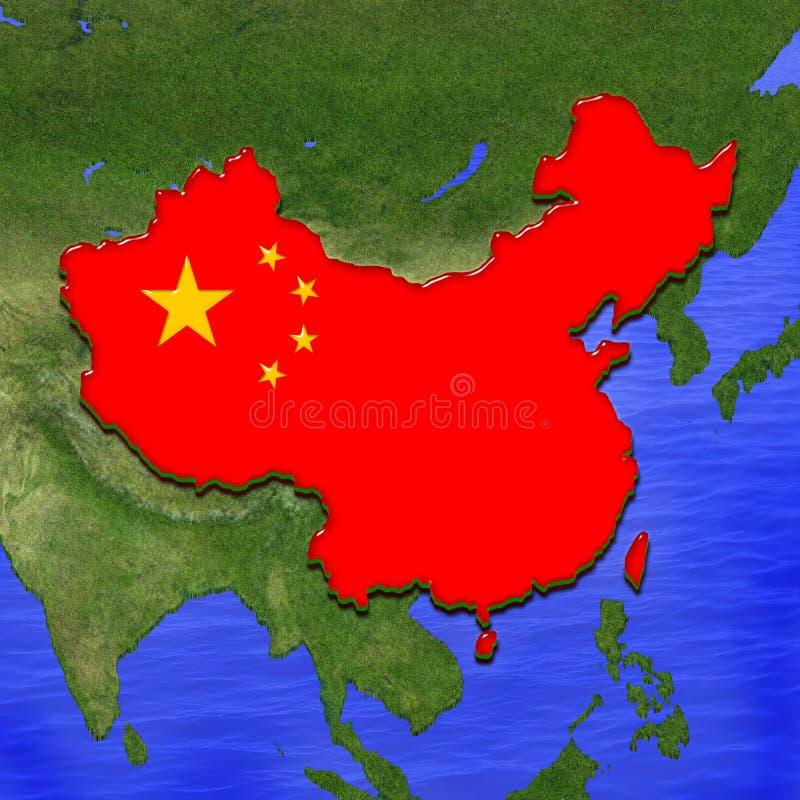 3D mapa Chiny malował w kolorach chińczyk flaga Ilustracja stylizowany galaretowy kulebiak ilustracji