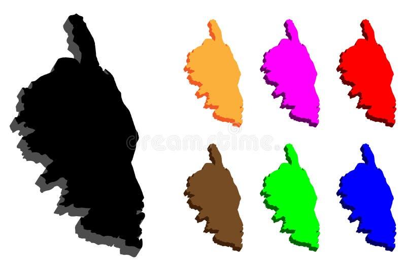 3D mapa Corsica ilustracja wektor