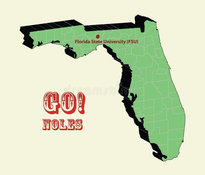3d mapa Florida stanu uniwersytet, iść noles (FSU) royalty ilustracja