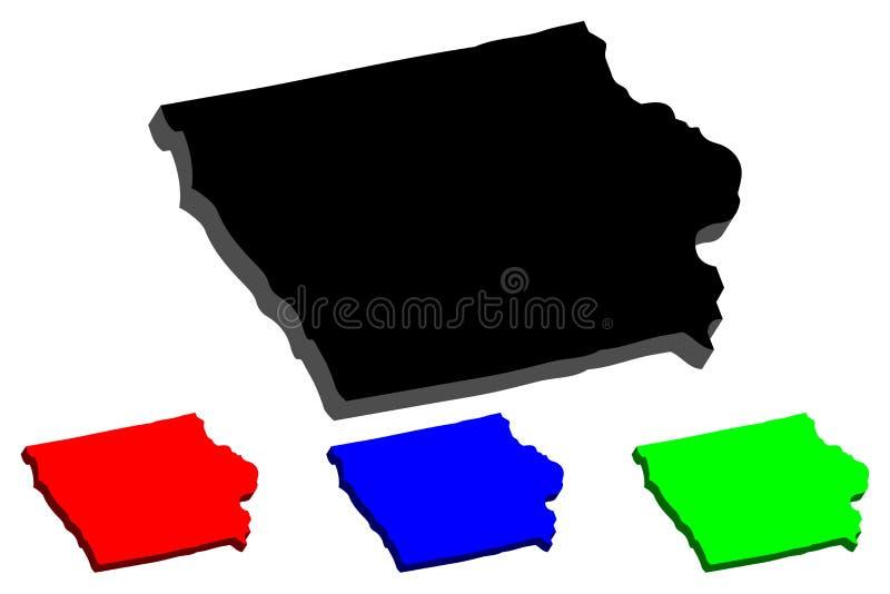 3D mapa Iowa ilustracji
