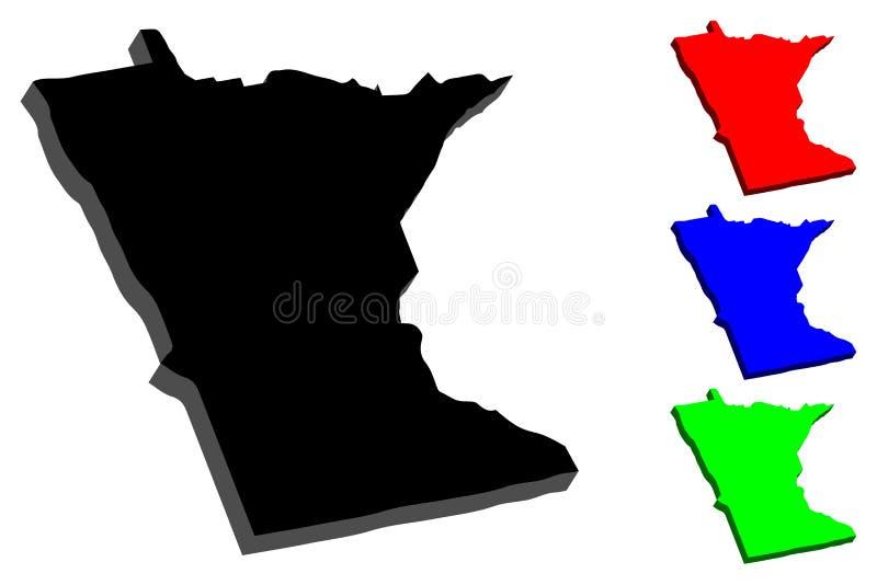 3D mapa Minnestoa royalty ilustracja