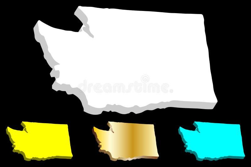 3D mapa stan washington ilustracja wektor