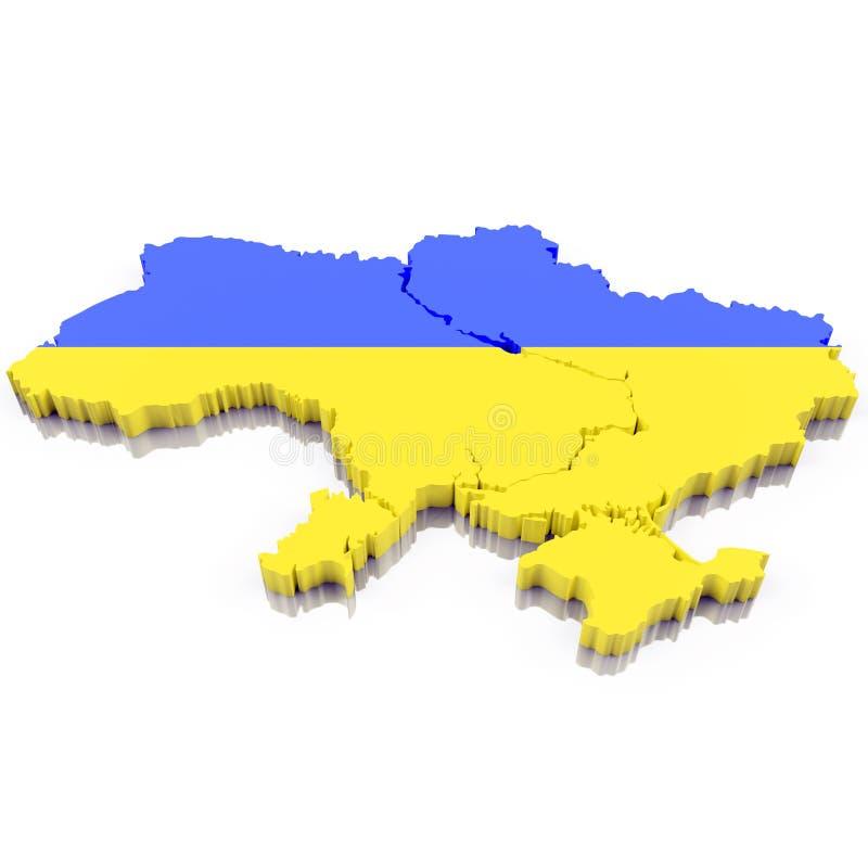 3D mapa Ukraina z chorągwianymi kolorami 3d ilustracja, odizolowywająca na bielu z cieniem ilustracji