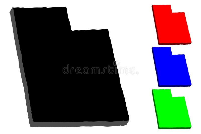 3D mapa Utah ilustracji