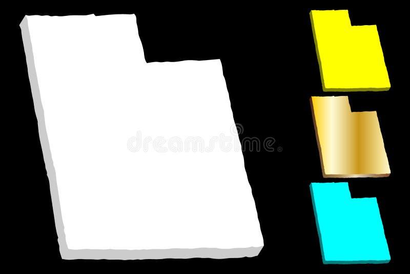 3D mapa Utah ilustracja wektor