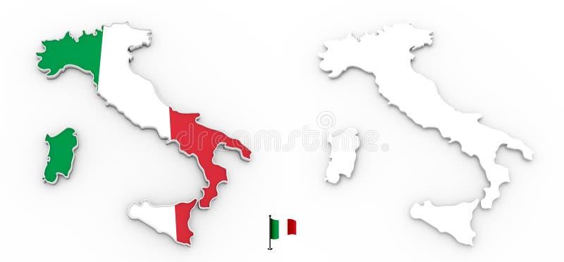 3D mapa Włochy biała flaga i sylwetka royalty ilustracja