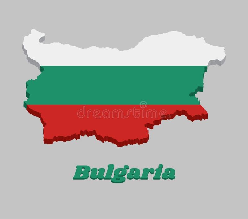 3D mapy kontur i flaga Bułgaria, horyzontalny tricolor biel, zieleń i czerwień, royalty ilustracja