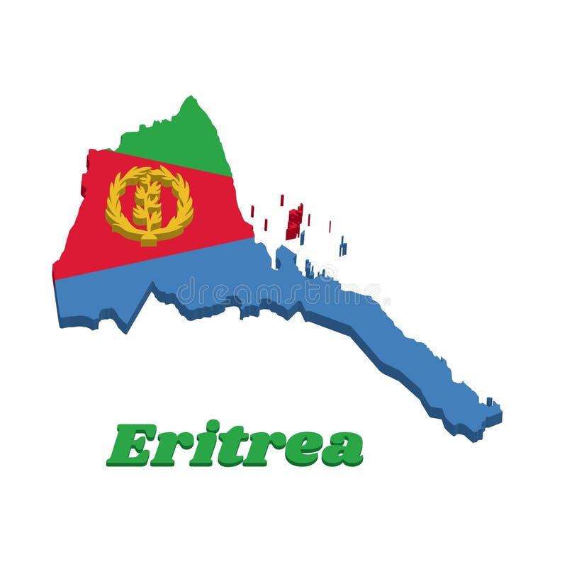 3D mapy kontur i flaga czerwony równoramienny trójbok na błękicie i zieleń trójbok z gałązką oliwną na złocie Erytrea, A, ilustracji