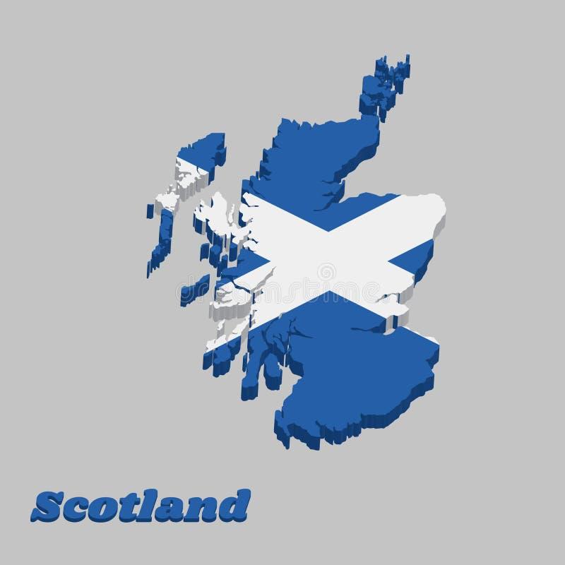 3d mapy kontur i flaga Szkocja, ja jest błękitnym polem z białym przekątna krzyżem który przedłużyć kąty ilustracji