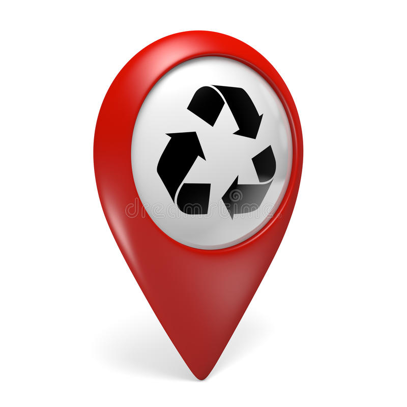 3D mapy pointeru czerwona ikona z przetwarza symbolem dla odnawialnego odpady ilustracja wektor