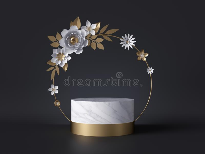 3d marble podium decorated with white and gold paper flowers, isolated on black background. Round floral frame. Festive wreath. vector illustration