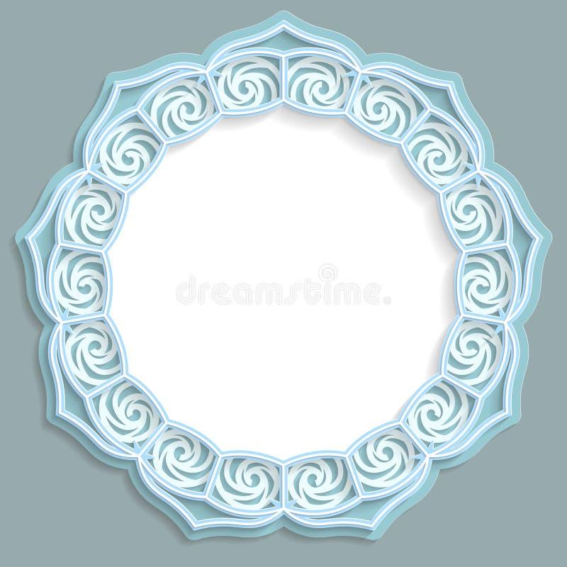 3D marco redondo, ilustración con los ornamentos, marco del cordón, ornamento del bajorrelieve, modelo festivo, modelo a cielo ab ilustración del vector