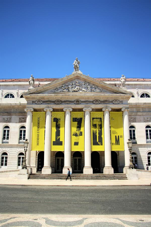 D. Maria II National Theatre in Lisbon, Portugal stock images