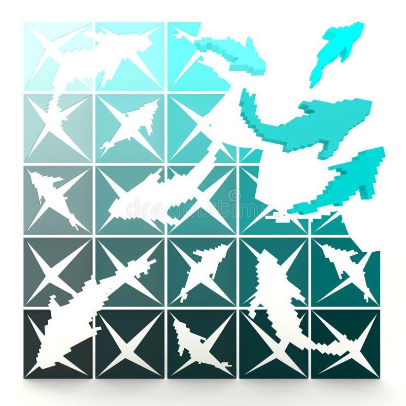 3D marine pixelated vissen draait aan het leven vector illustratie