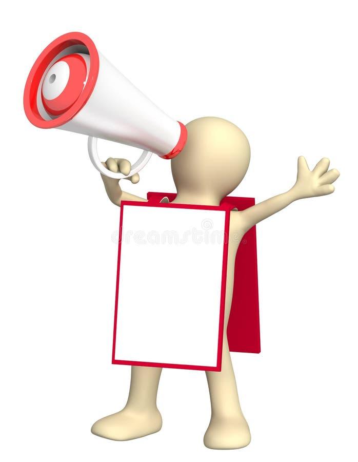 3d marionet met megafoon en berichtraad vector illustratie