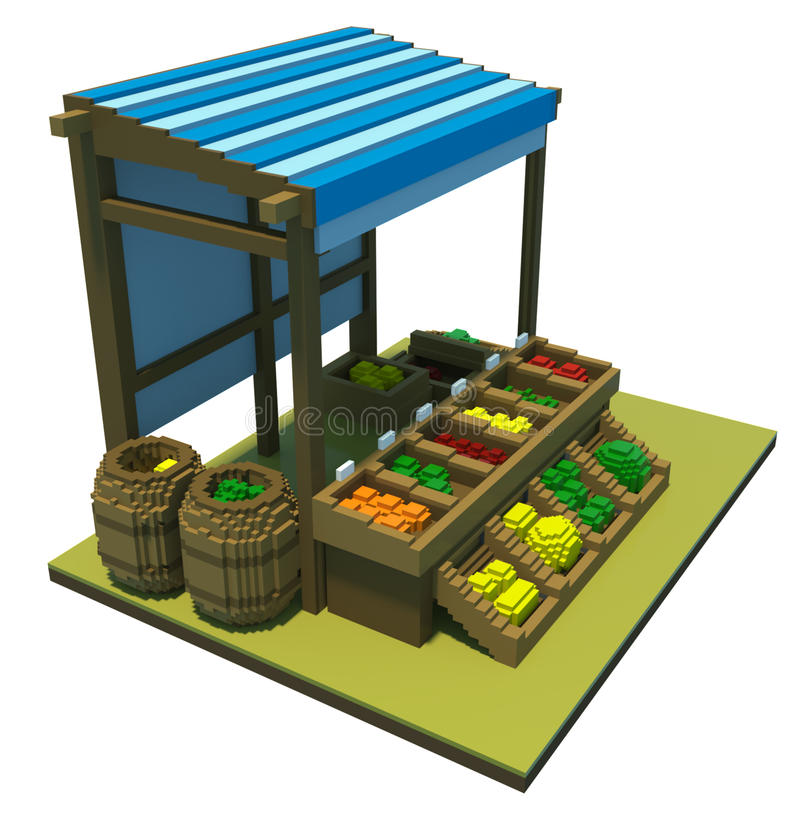 3d market stand with fruit royalty free illustration