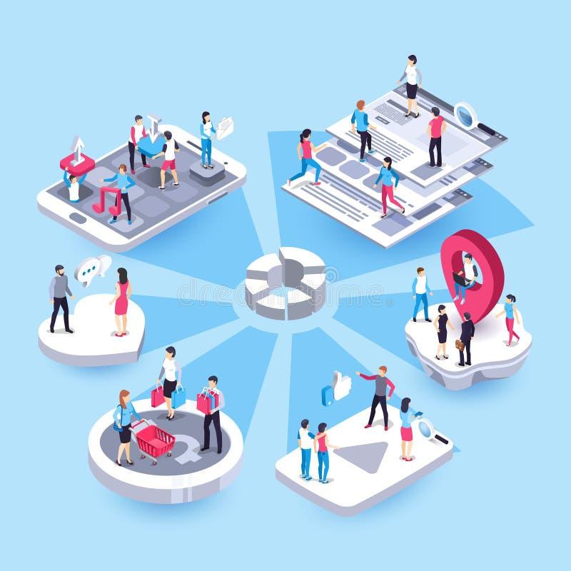 3d marketingu isometric ludzie Ogólnospołeczni środki wprowadzać na rynek, interesu celu grupy przedstawiciele i klient handlowy  royalty ilustracja