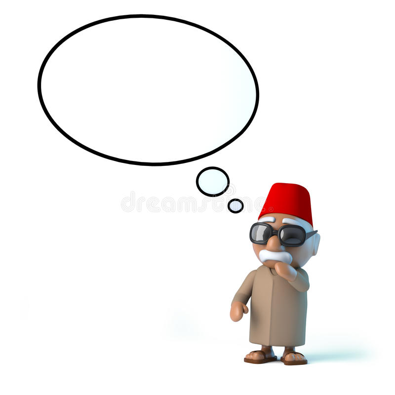 3d marokańczyk z myśl bąblem obrazy stock