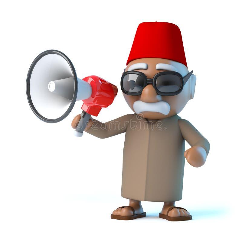 3d Marokkaan met megafoon stock illustratie