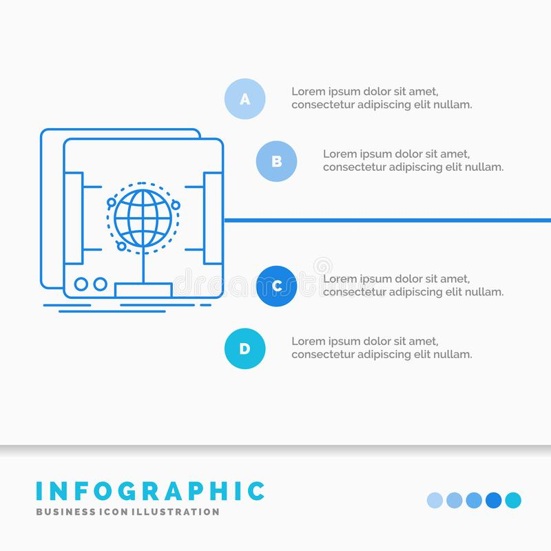 3d, Mass-, ganz eigenh?ndig geschriebes, Scan, Scanner Infographics-Schablone f?r Website und Darstellung Linie infographic Art d lizenzfreie abbildung