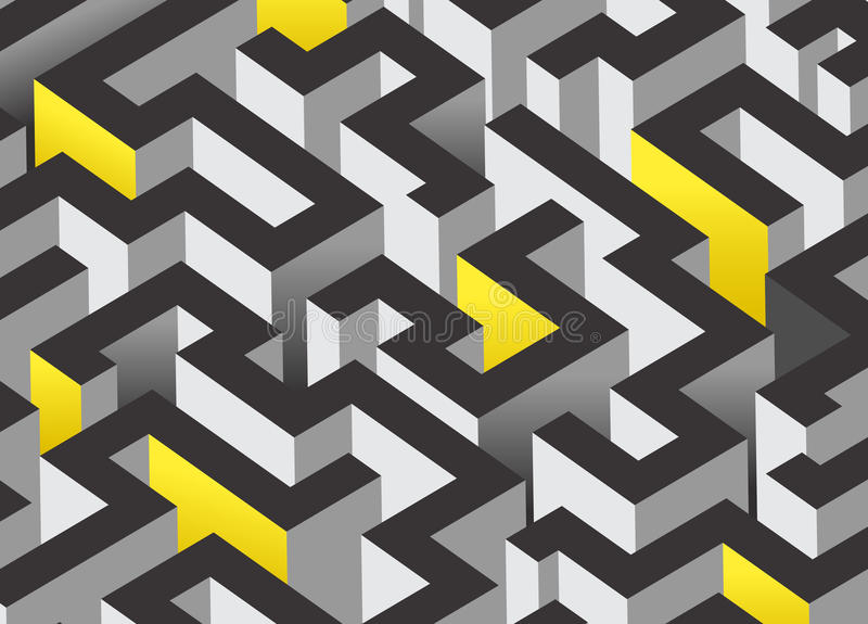 3D maze design. An abstract background design with labyrinth royalty free illustration