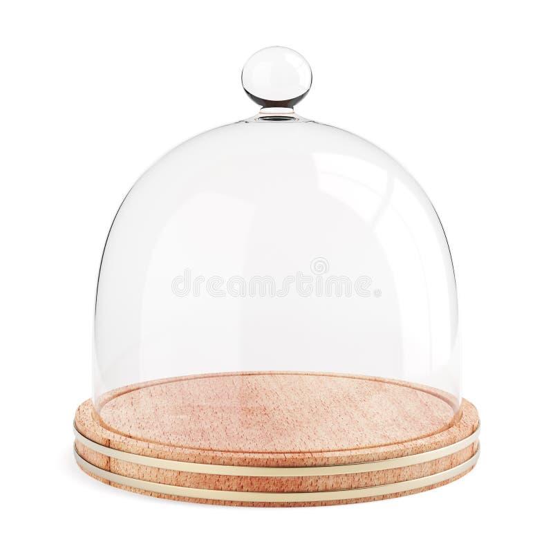 Dôme en verre du plat en bois sur le fond blanc illustration de vecteur