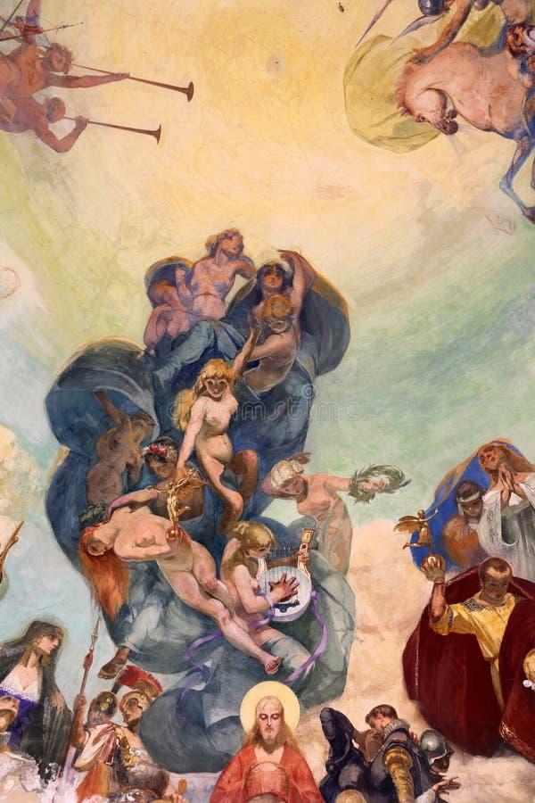 Dôme Frescoed du kiosque de musique dans Rapallo, Italie photographie stock