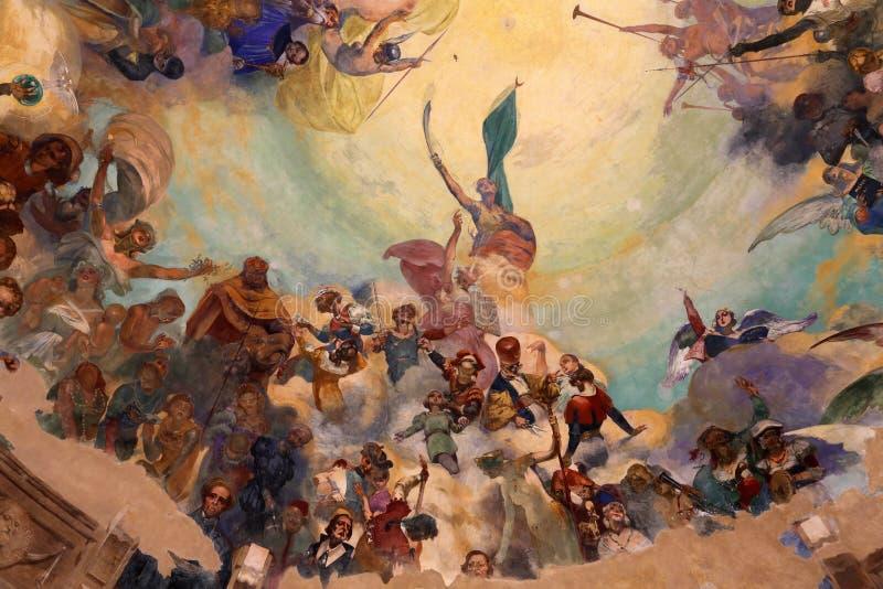 Dôme Frescoed du kiosque de musique dans Rapallo, Italie photo libre de droits