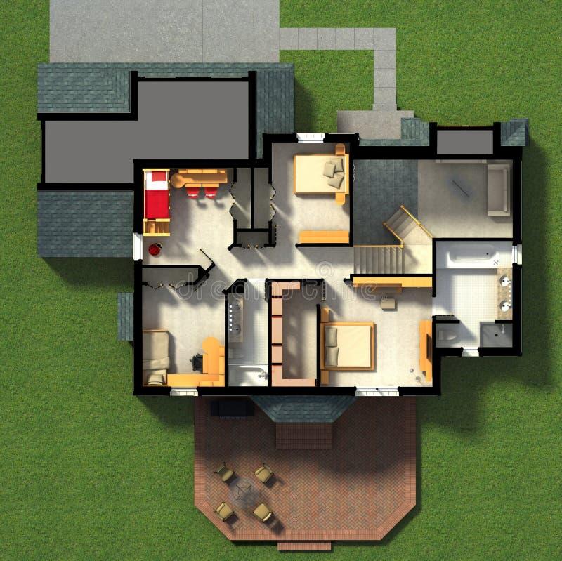 3D Meblujący Domowy wnętrze ilustracja wektor