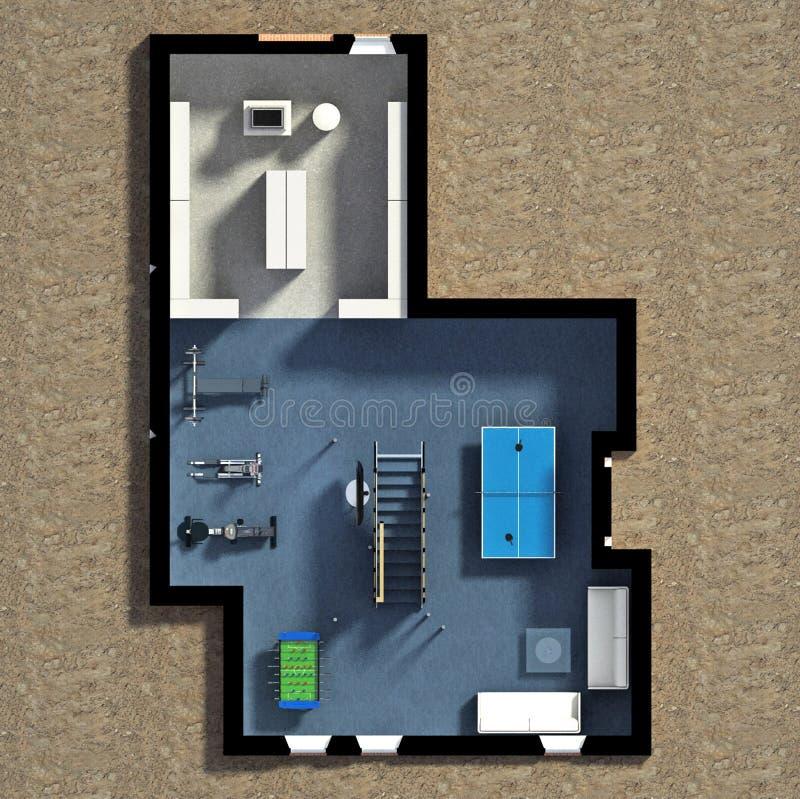 3D Meblujący Domowy wnętrze royalty ilustracja