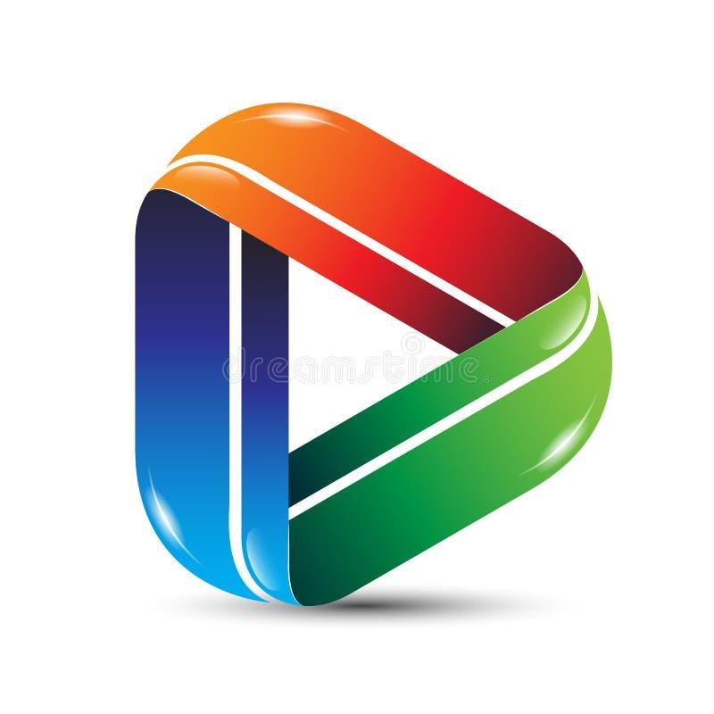 3D media play icon logo design. vector illustration