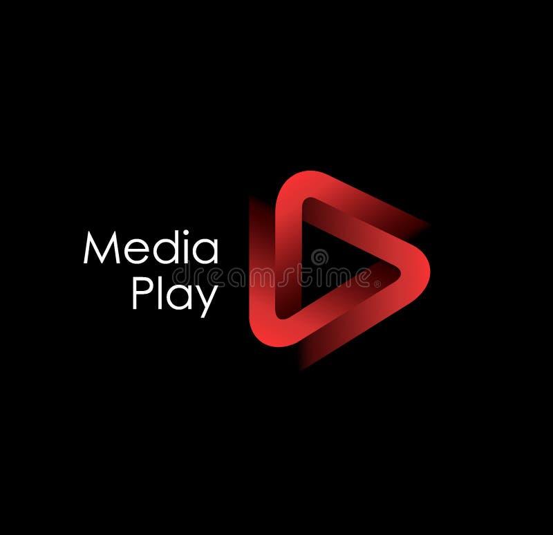 3D media play logo design. stock illustration