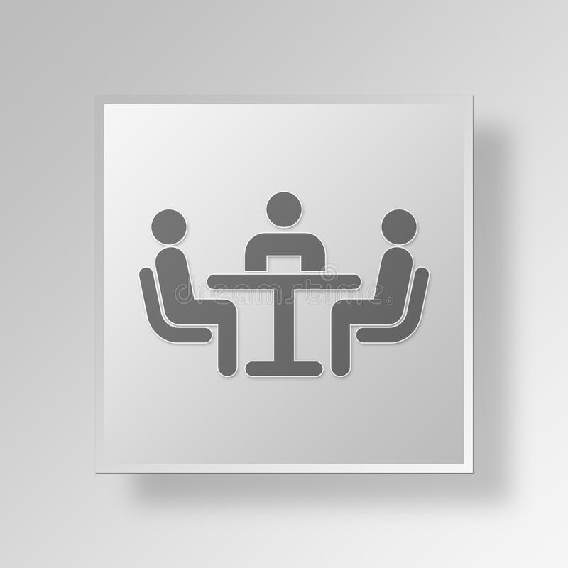 3D mediation Button Icon Concept royalty free illustration