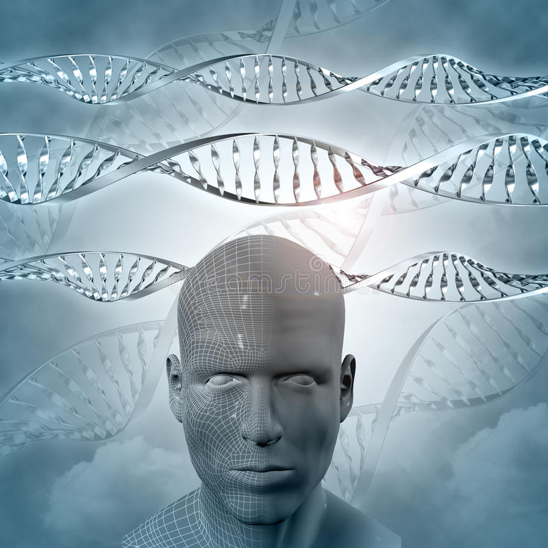 3D medical background with DNA strands and man stock illustration