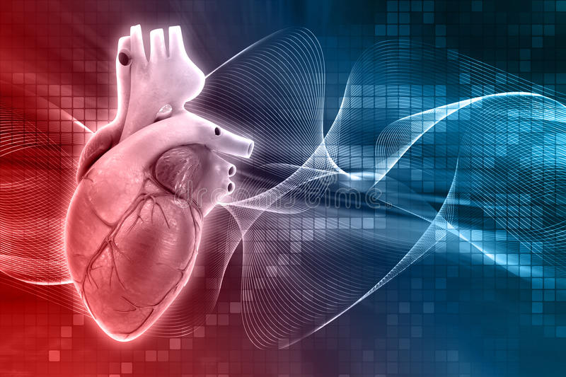 3D medical background with heart vector illustration