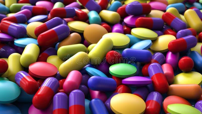 3d medicine capsules. Background illustration stock illustration