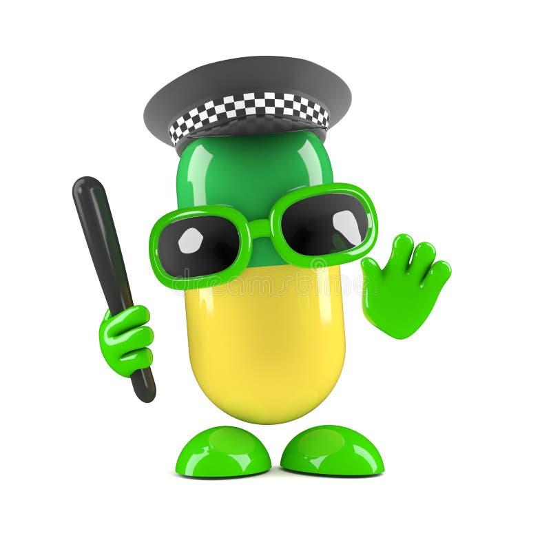 3d medycyny pigułka ubierająca jako funkcjonariusz policji ilustracji