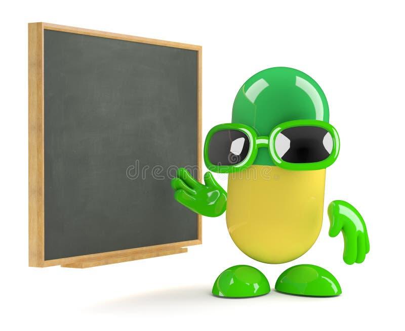 3d medycyny pigułka uczy przy blackboard ilustracji