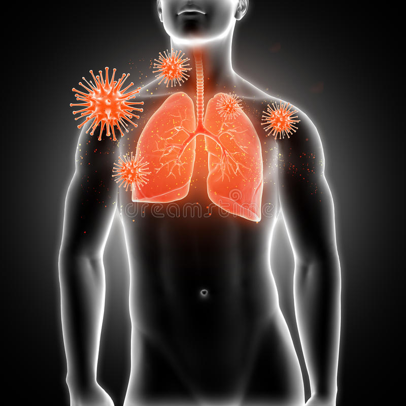 3D medyczna męska postać z płucami podkreślającymi i wirusowymi komórkami royalty ilustracja
