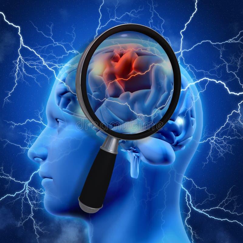 3D medyczny tło z powiększać - szkło egzamininuje mózg royalty ilustracja