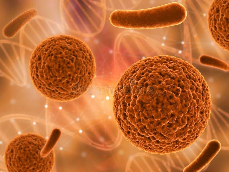 3D medyczny tło z różnorodnymi wirusowymi komórkami ilustracji