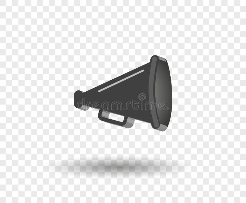3D megafoon hailer, luid sprekend om te draaien De correcte golven worden geleid Vectorontwerpelement, pictogram op geïsoleerde a stock illustratie