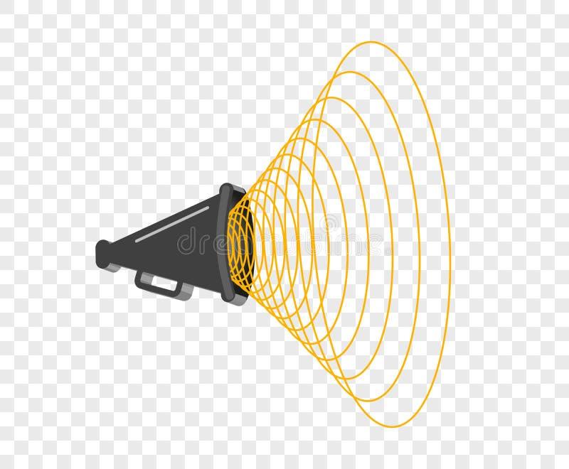 3D megafoon hailer, luid sprekend om te draaien De correcte golven worden geleid Vectorontwerpelement, pictogram op geïsoleerde a vector illustratie
